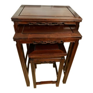 Vintage Chinese Rosewood Nesting Tables - Set of 3 For Sale