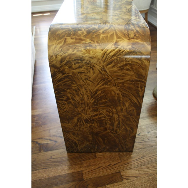 Mid-Century Modern Faux Tortoise Waterfall Console Table in the Style of Karl Springer For Sale - Image 3 of 12