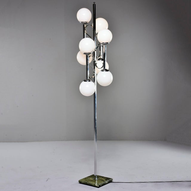 Mid-Century Italian Chrome Floor Lamp With White Glass Globes For Sale - Image 13 of 13