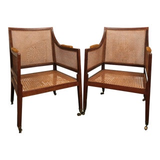George III Caned Library Chairs on Castors, Peg Caned - a Pair For Sale