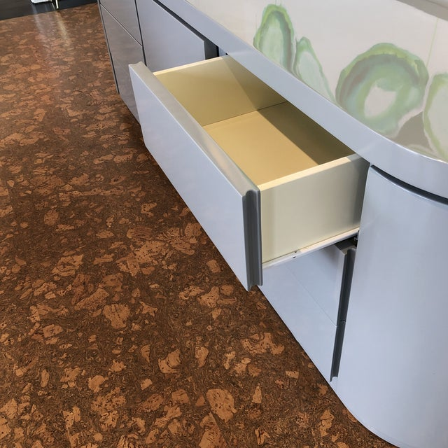 Contemporary Contemporary Grey Lacquer Credenza For Sale - Image 3 of 5