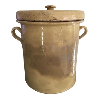 Antique Continental Yellow Earthenware Covered Olive / Confit Pot Jar For Sale