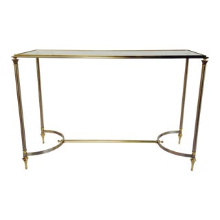 Vintage French Maison Jansen Steel and Brass Console Table For Sale