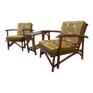 Rattan Lounge Chairs and Side Table -Three Piece Set by Vogue For Sale