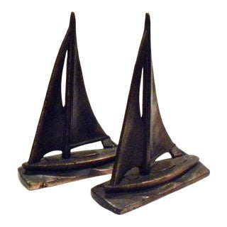 Vintage Sail Boat Nautical Bookends - Set of 2 For Sale