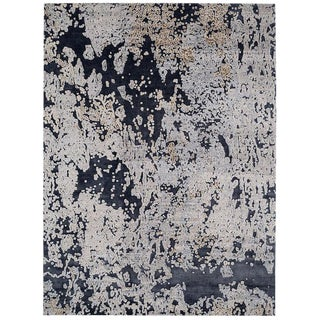 Contempoary/Abstract Area Rug in Silk and Wool by Carini, 9'x12' For Sale