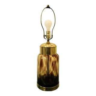Paul Hanson Mid-Century Modern Tortoise Glass Table Lamp For Sale