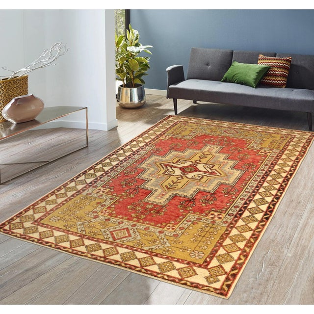 """Contemporary Vintage Pasargad Oushak Rug - 4' 0"""" X 6' 0"""" For Sale - Image 3 of 3"""