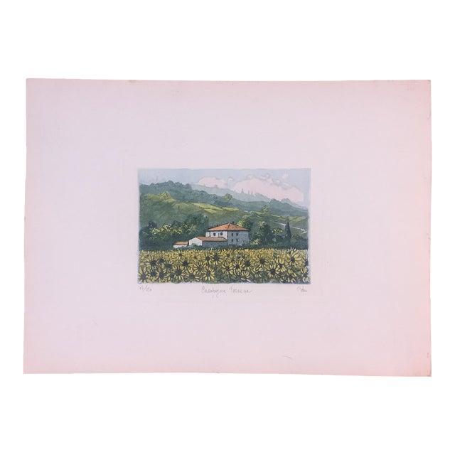 Vintage Italian Watercolor Print For Sale