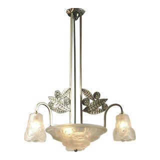 Special, Large French Art Deco Chandelier, Brushed Nickel Finish, by Degué For Sale