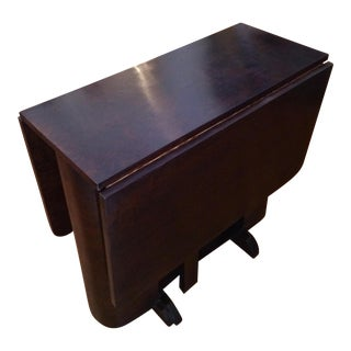 1940s Vintage Art Deco Drop Leaf Gate Leg Dining Table For Sale