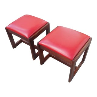 Mid-Century Modern Solid Wood & Red Cushion Stools - a Pair For Sale