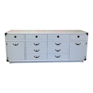 White Vintage Campaign Style Credenza For Sale
