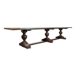 Exceptional 19th Century Solid Walnut Louis XIII Style Chateau Trestle Table For Sale