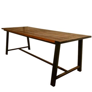 French Industrial Long Table in Mahogany and Wrought Iron For Sale