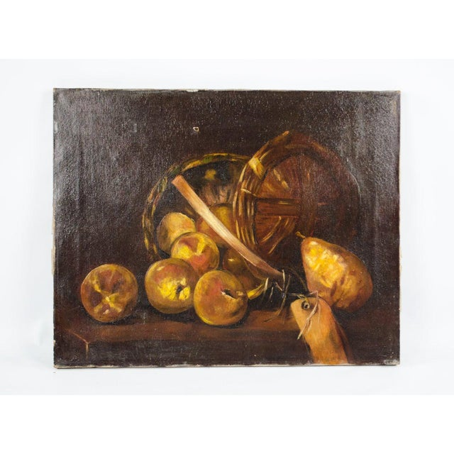 This dark and mysterious antique oil on canvas still life will intrigue guests and viewers alike. This work depicts a...