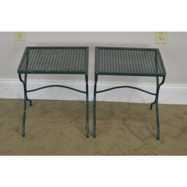 Traditional Salterini Vintage Expanded Metal Wrought Iron Pair X-Base Patio Side Tables For Sale - Image 3 of 13