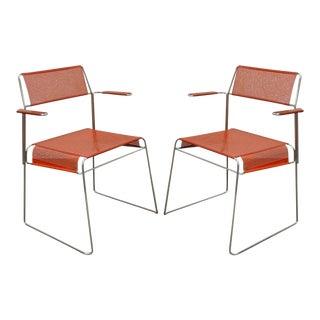 Vintage Tomado Mid-Century Modern Stacking Chrome Metal Mesh Arm Chairs - a Pair