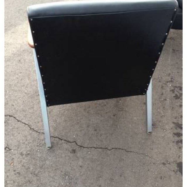 Mid-Century Low Vinyl Black Chairs - A Pair For Sale - Image 5 of 5