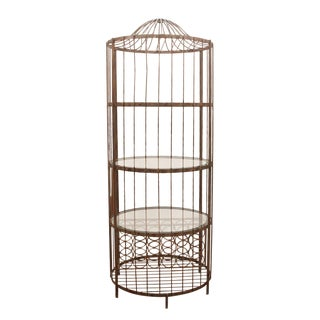 Contemporary Brushed Metal and Glass Birdcage Wine Rack For Sale