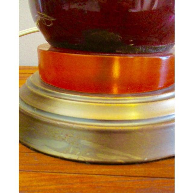 Mid-Century Modern Mid Century Modern Burgundy Glazed Ceramic Table Lamp For Sale - Image 3 of 13