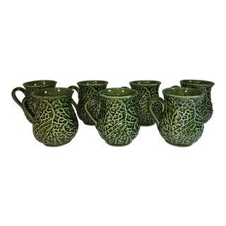 Vintage Majolica Cabbage Leaf Coffee Cups - Set of 7