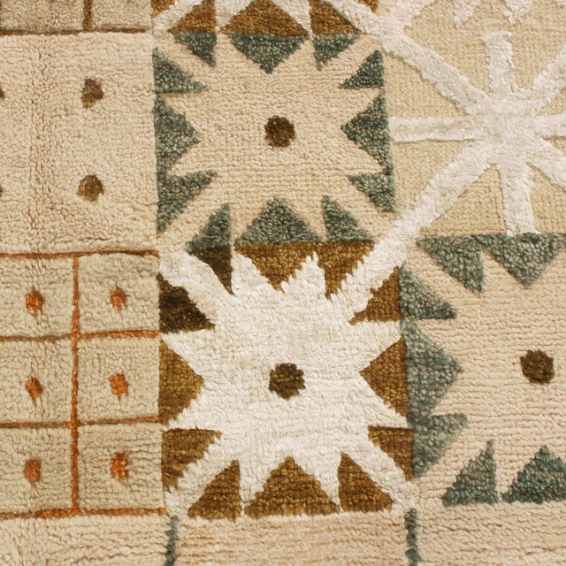 Anglo-Indian Rug & Kilim's Scandinavian-Inspired Geometric Cream Beige Brown Wool Pile Rug For Sale - Image 3 of 6