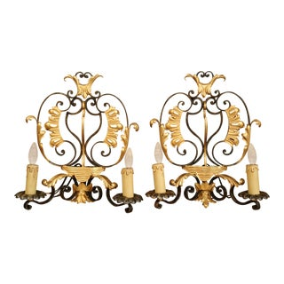 Early 20th Century French Louis XV Painted Iron Two-Light Wall Sconces - a Pair For Sale