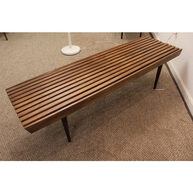 Mid-Century Danish Modern Walnut Slat Bench Coffee Table - Image 9 of 10