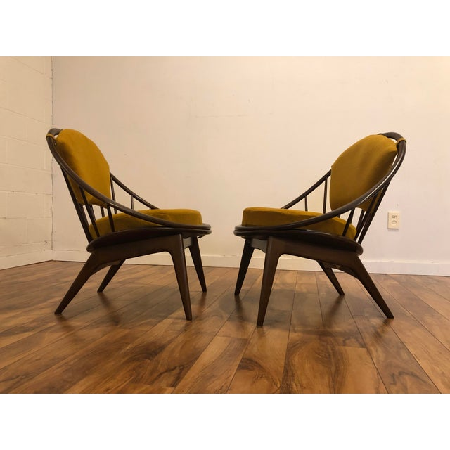 Selig Ib Kofod Larsen for Selig Mid-Century Peacock Lounge Chairs - a Pair For Sale - Image 4 of 13