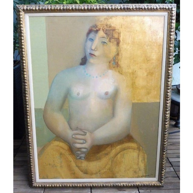 Large Painting by Provincetown Painter Remo Michael Farrugio of His 3rd Wife sold as found in good condition without...
