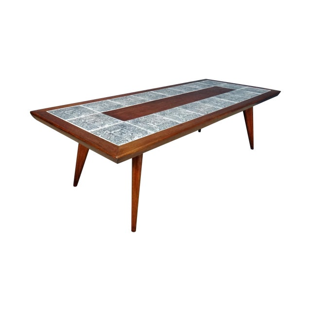 Mid-Century Coffee Table with Aztec Pattern Tiles - Image 1 of 6