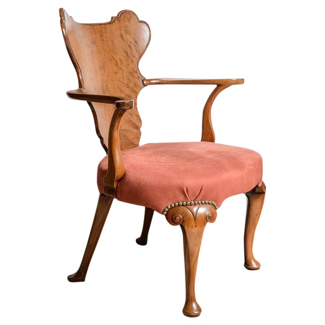 Irish Walnut Library Chair For Sale