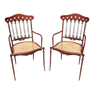 Early 20th Century Austrian Wrought Iron Cold Painted Bronze & Cane Arm Chairs - a Pair For Sale
