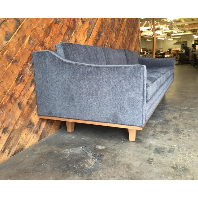 Mid Century Style Custom Walnut Trim Sofa For Sale In Los Angeles - Image 6 of 8