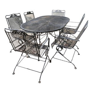 Vintage Russell Woodard Mesh Patio Set For Sale