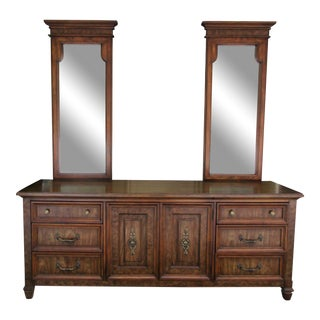 Stanley Furniture Dresser With Two Mirrors For Sale
