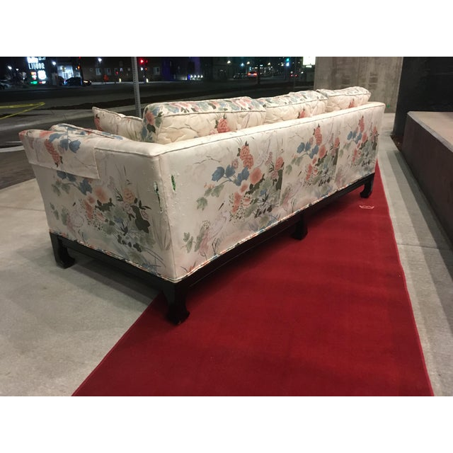 Baker Furniture Company Manner of Michael Taylor for Baker Tufted Chinoiserie Sofa With Ming Legs For Sale - Image 4 of 13