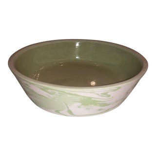 Medium Green Marbled Bowl For Sale