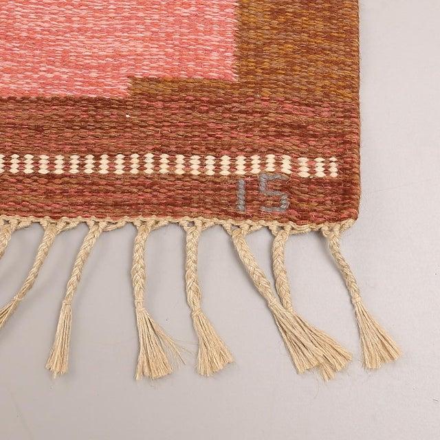 VintageIngegerd Silow Handwoven Swedish Flat Weave Rug - 5′7″ × 7′7″ For Sale - Image 4 of 5