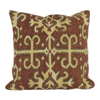 Folk Art Style Pottery Barn Woven Brown Wool Kilim Pillow