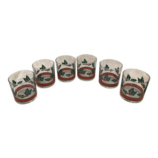 Mid-Century Holiday Rock Glasses - Set of 6