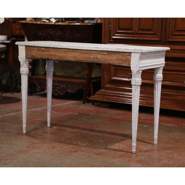 19th Century French Louis XVI Carved Painted Table Console For Sale - Image 4 of 13