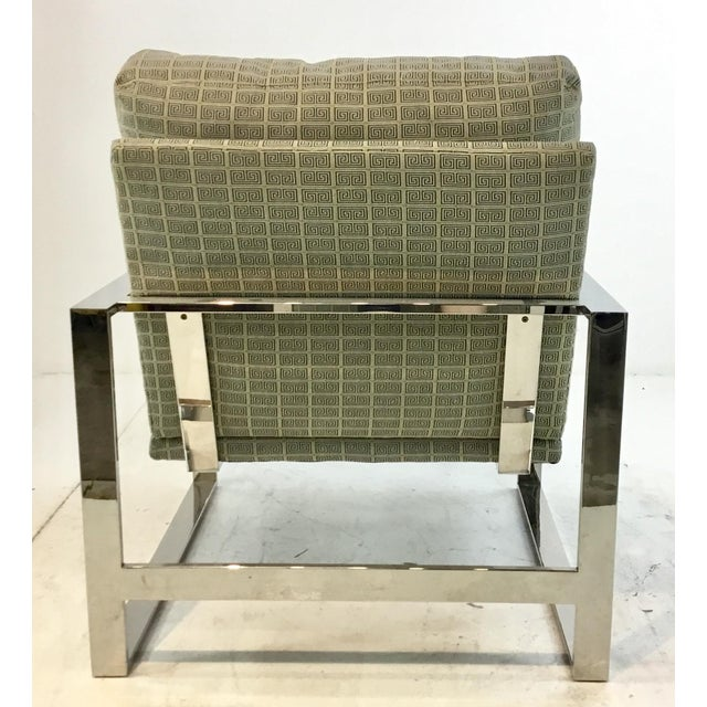 2010s Mid-Century Modern Inspired Vanguard Greek Key and Chrome Chair and Ottoman Set For Sale - Image 5 of 9