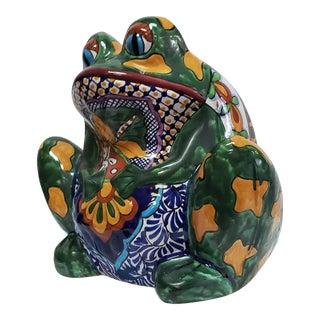 Vintage Mexican Glazed Frog Terracotta Planter For Sale