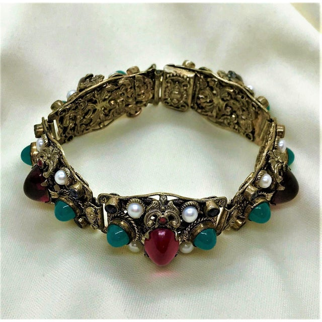 Baroque 1940s Czech Austro-Hungarian Revival Jeweled Bracelet For Sale - Image 3 of 9