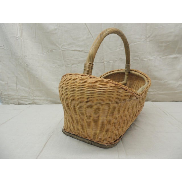 Boho Chic Vintage Wicker Magazine Rack With Handles For Sale - Image 3 of 6
