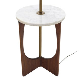 Walnut Base Marble-Top Table Lamp For Sale
