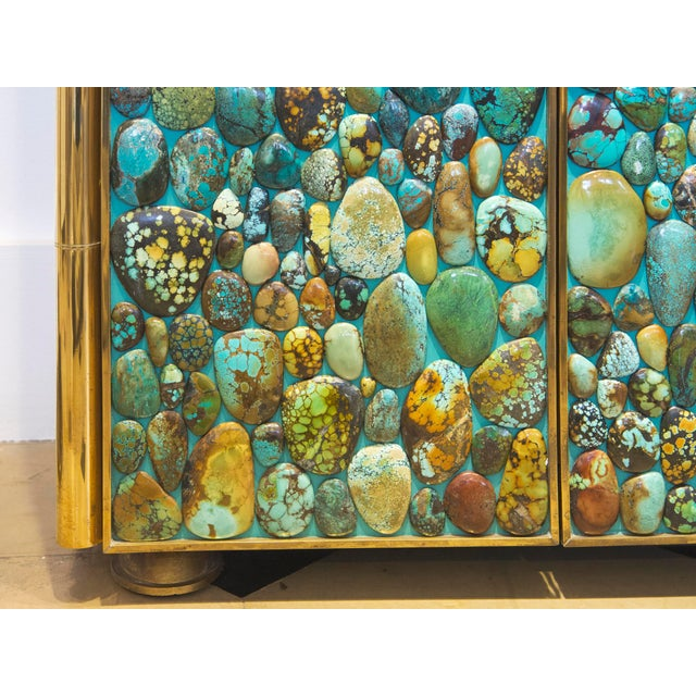 Gold Kam Tin - Turquoise Tall Cabinet Made of Real Turquoise Cabochons, France,2014 For Sale - Image 8 of 9