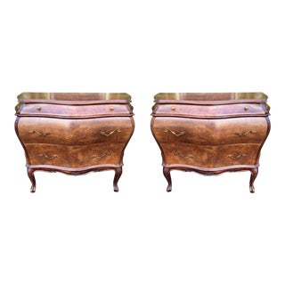 Pair of Italian Oyster Laburnum Walnut Commode Night Stand End Table For Sale